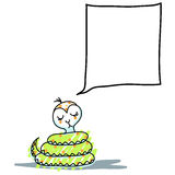 O sorriso Hand-drawn da serpente dos desenhos animados e pensa Imagem de Stock Royalty Free