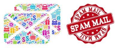 O Spam rotula a composição do mosaico e selo Textured para vendas ilustração royalty free