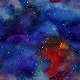 O spase e as estrelas coloridos brilhantes entregam o teste padrão pintado watercolour tirado ilustração stock