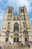 O St Michael e a catedral de Gudula Imagens de Stock