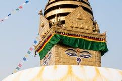 O stupa de Swayambhunath, Buda eyes o close-up Foto de Stock Royalty Free