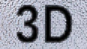 o subtítulo 3D em pixéis de flutuação faz sinal ao fundo, rendição 3d ilustração stock