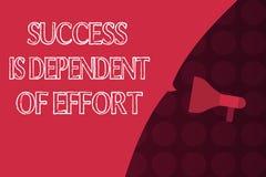 O sucesso do texto da escrita da palavra é dependente do esforço Conceito do negócio para que o esforço Make suceda a estada pers ilustração do vetor