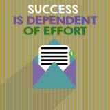 O sucesso do texto da escrita da palavra é dependente do esforço Conceito do negócio para que o esforço Make suceda a estada pers ilustração stock