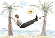 O sucesso e relaxa de um homem de negócios Imagens de Stock Royalty Free