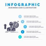 o sucesso, usuário, alvo, consegue, molde de Infographics do crescimento para o Web site e apresentação ?cone cinzento do GLyph c ilustração do vetor