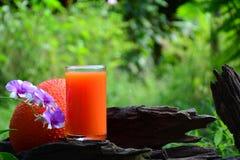 O suco de Gac e o gac frutificam na madeira velha Fotografia de Stock