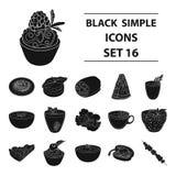 O suco, pizza, bagas é pratos de vegetariano Os pratos de vegetariano ajustaram ícones da coleção no estoque preto do símbolo do  Imagem de Stock