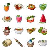 O suco, pizza, bagas é pratos de vegetariano Os pratos de vegetariano ajustaram ícones da coleção no estoque do símbolo do vetor  ilustração royalty free