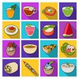 O suco, pizza, bagas é pratos de vegetariano Os pratos de vegetariano ajustaram ícones da coleção no estoque liso do símbolo do v Fotos de Stock