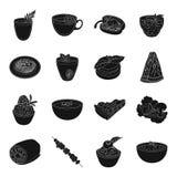 O suco, pizza, bagas é pratos de vegetariano Os pratos de vegetariano ajustaram ícones da coleção no estoque preto do símbolo do  Foto de Stock