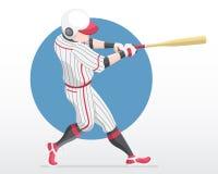 O Suco que está dentro agacha-se posição com círculo vermelho como o jogador do illustrationBaseball do fundo na ação vermelha do ilustração do vetor