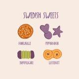 O sueco doce coze - o bolo de canela, o pão-de-espécie e o outro Foto de Stock