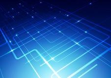 O sumário alinha o fundo do azul da tecnologia Fotos de Stock Royalty Free