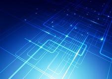 O sumário alinha o fundo do azul da tecnologia Fotografia de Stock Royalty Free