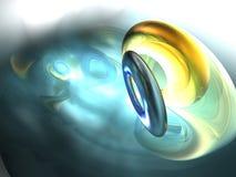o sumário amarelo da esfera 3D rende o azul de prata Imagens de Stock Royalty Free