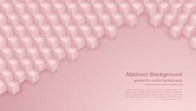 O sumário aumentou o ouro, fundo cor-de-rosa da textura com formas do hexágono o fundo do vetor 3D pode ser usado para cartazes,  ilustração stock