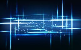 O sumário azul da tecnologia, incandescência de néon mensagem brilhante, digital com linhas de grade circuita a ilustração do vet ilustração stock