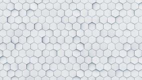 O sumário branco 3D do teste padrão do hexágono rende Fotografia de Stock Royalty Free