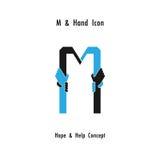O sumário do ícone do alfabeto do m e o ícone criativos das mãos projetam o vetor Foto de Stock Royalty Free