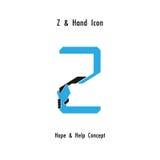 O sumário do ícone do alfabeto do z e o ícone criativos das mãos projetam o vetor Foto de Stock