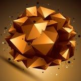 O sumário geométrico 3D complicou o objeto da estrutura, brilhante Fotografia de Stock Royalty Free