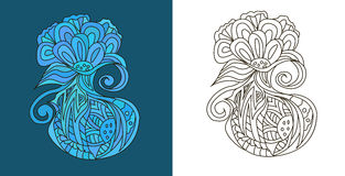 O sumário rabisca (emaranhados do zen) no formulário estranho da flor - vector a ilustração Imagem de Stock