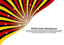 O Sunburst radial vermelho, amarelo e preto com efervescência stars o fundo do vetor Fotografia de Stock Royalty Free