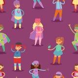 O super-herói caçoa a criança ou a criança do super-herói do vetor no personagem de banda desenhada da máscara da menina ou do me ilustração do vetor