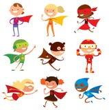 O super-herói caçoa o vetor dos desenhos animados dos meninos e das meninas imagem de stock