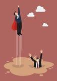 O super-herói do homem de negócios obtém longe da poça da areia movediça Imagem de Stock