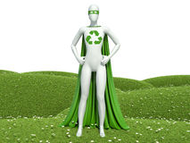 o super-herói ecológico dos povos 3d brancos com recicla o sinal na grama Fotografia de Stock