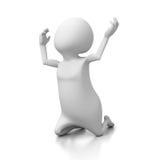 O suporte branco da pessoa 3d em seus joelhos e reza Imagens de Stock Royalty Free