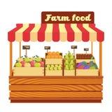 O suporte de madeira do mercado com alimento da exploração agrícola e os vegetais na caixa vector a ilustração ilustração royalty free
