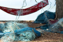 O suporte de peixes do achado da rede do pescador e a captura crab Foto de Stock