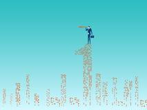 O suporte do homem de negócios sobre a construção usando o telescópio que procura o sucesso, oportunidades, o negócio futuro tend ilustração do vetor