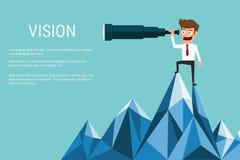 O suporte do homem de negócios sobre a montanha usando o telescópio que procura o sucesso, oportunidades, o negócio futuro tende Imagens de Stock Royalty Free