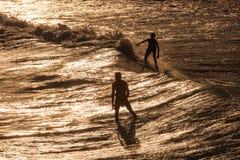 O surfista monta uma grande onda tropical azul no paraíso Fotos de Stock Royalty Free