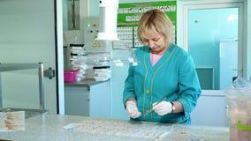 O técnico de laboratório que estuda, examina sementes e tiros dos cereais genetically alterados, sementes do milho, no laboratóri
