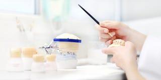 O técnico dental entrega o trabalho com as dentaduras do dente em seu trabalho fotos de stock