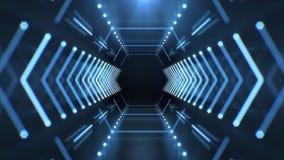 O t?nel de n?on abstrato do hex?gono animou o fundo video da tecnologia 4K ilustração stock