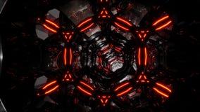 O túnel escuro futurista abstrato no túnel do espaço do cyber do techno deu laços infinitamente na animação vidro 3D e túnel do o ilustração do vetor
