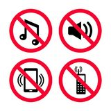 O ` t de Don faz o ruído, nenhuns telefones celulares, nenhuma música, nenhuns ruídos altos, sinais vermelhos da proibição ilustração stock