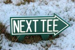 O T seguinte assina dentro a neve do inverno Fotografia de Stock