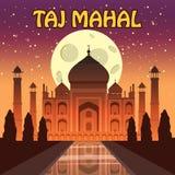 O Taj Mahal mausoléu de mármore branco na margem sul do rio de Yamuna na cidade índia de Agra, Uttar Pradesh ilustração do vetor