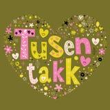 O takk de Tusen agradece-lhe muito - muitos agradecimentos noruegueses Foto de Stock