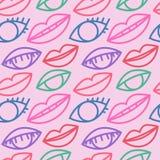 O tamanco sem emenda com olhos e bordos, o olho do esboço e os bordos vector o fundo, papel de parede colorido foto de stock