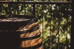 O tambor de madeira com vermelho e o wihte wine provando no vinhedo Copie o espaço para o texto e projete-o Objeto Textured Foto de Stock Royalty Free