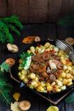 O tampão do leite do açafrão cresce rapidamente com batatas fritadas, estilo rústico Imagem de Stock Royalty Free