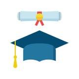 O tampão e o diploma da graduação enrolam a ilustração do vetor do ícone no fl ilustração royalty free